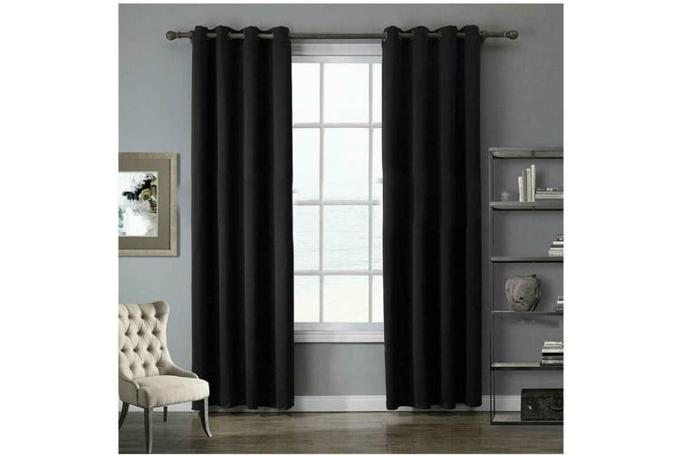 2 Blockout Curtains Eyelet Window Curtain Blackout Draperies Living Room Bedroom 180x160cm-Black