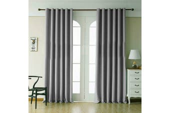 2 Blockout Curtains Eyelet Window Curtain Blackout Draperies Living Room Bedroom 180x213cm-Grey