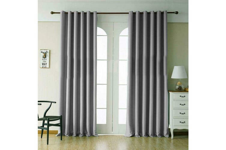 2 Blockout Curtains Eyelet Window Curtain Blackout Draperies Living Room Bedroom 250x230cm-Grey