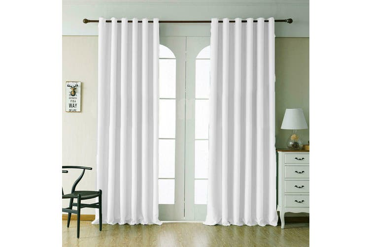 2 Blockout Curtains Eyelet Window Curtain Blackout Draperies Living Room Bedroom 250x230cm-White
