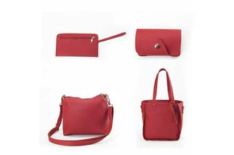 4PCS/Set Women PU Leather Handbag Shoulder Bag Purse Messenger Satchel Clutch AU-Red