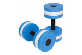 2x Water Aerobics Dumbbell EVA Aquatic Barbell Aqua Fitness Pool Exercise Medium-2pcs Blue