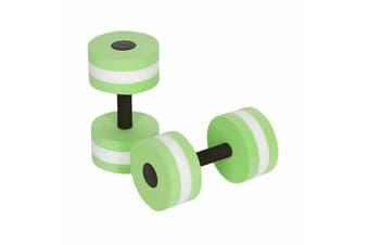2x Water Aerobics Dumbbell EVA Aquatic Barbell Aqua Fitness Pool Exercise Medium-2pcs Green