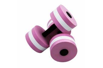 2x Water Aerobics Dumbbell EVA Aquatic Barbell Aqua Fitness Pool Exercise Medium-2pcs Pink