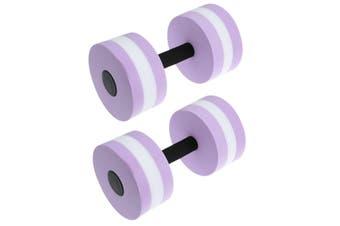 2x Water Aerobics Dumbbell EVA Aquatic Barbell Aqua Fitness Pool Exercise Medium-2pcs Purple