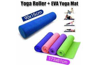 EVA Foam Yoga Mat Durable Thick Pad Non-Slip Exercise Pilate Fitness Gym Strap - Yoga Roller + Yoga Mat