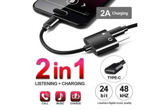 2in1 USB Type-C to 3.5mm Headphone Jack Adapter AUX & Sync Data Charge Cable
