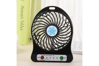 Portable Operated Charging Fan Cooler Battery Mini Air Light LED USB-black