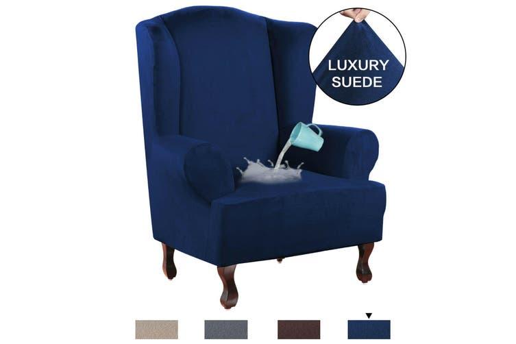 Stretch Wing Chair Cover Velvet Plush, Velvet Wing Chair Cover