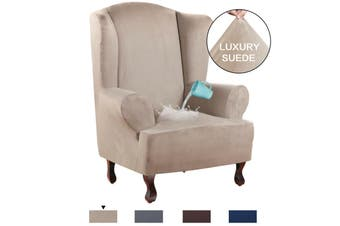 Stretch Wing Chair Cover Velvet Plush Water Repellent Suede Fabric Slipcovers - Sand / Wing Chair