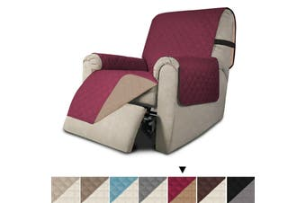 Sofa Cover Couch Cover Sofa Protector Sofa Slip Cover Reversible Non Slip Cover - Recliner-Burgundy/Tan
