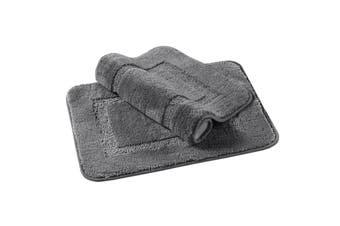 Bath Mat Thick Soft Bath Rugs Velvet Fulffy Non Slip Bathroom Mats1 Piece - Grey / 43 x 61cm