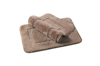 Bath Mat Thick Soft Bath Rugs Velvet Fulffy Non Slip Bathroom Mats1 Piece - Taupe / 43 x 61cm