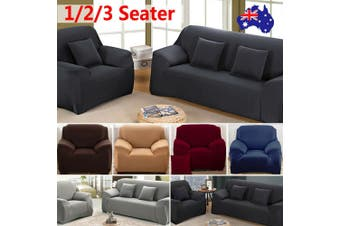 Stretch Sofa Cover Couch Lounge Recliner Chair Slipcover Protector - Black / 3 seater(195-230CM