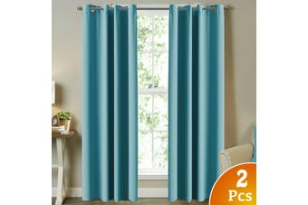2X Blockout Curtains Blackout Window Curtain Draperies Pair Eyelet for Bedroom - Aqua / 132CM X 274CM
