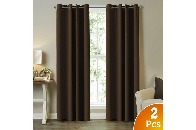 2X Blockout Curtains Blackout Window Curtain Draperies Pair Eyelet for Bedroom - Aqua / 132CM X 274CM