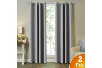 2X Blockout Curtains Blackout Window Curtain Draperies Pair Eyelet for Bedroom - Dove Grey / 132CM X 213CM