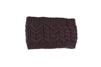 Women Beanie Tail Messy Bun Hat Ponytail Stretch Knit Crochet Skull Head Band - Coffee