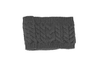 Women Beanie Tail Messy Bun Hat Ponytail Stretch Knit Crochet Skull Head Band - Dark Grey