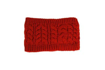 Women Beanie Tail Messy Bun Hat Ponytail Stretch Knit Crochet Skull Head Band - Red