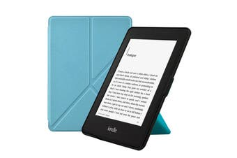 Origami Magnetic PU Leather Case Cover for Kindle 8th-Skyblue