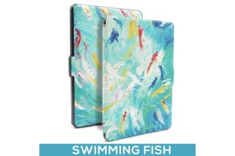 Quality Colorful Painting Leather Cover for Kindle Paperwhite 1/2/3-Swimming fish