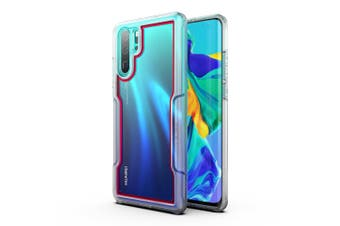 MAXSHIELD Slim Clear Heavy Duty ShockProof Case for P30 Pro Clear Red