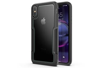 MAXSHIELD Slim Clear Heavy Duty ShockProof Case for iPhone X/XS-Black