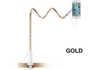 Extended Desktop Phone Holder Bed Long Arm Lazy Stand Mount Mobile iPhone Galaxy-Gold