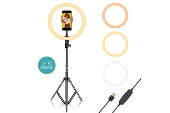 12 Inch Phone Selfie Ring Light with Stand +2M Adjusable Tripod Dimmable For Makeup Video Shooting Live LED