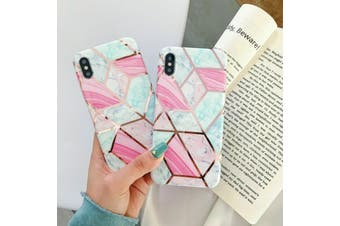 Marble Pattern Soft TPU Case Elegant Stylish ShockProof Silicone Cover for iPhone 7/8 Plus-Pink