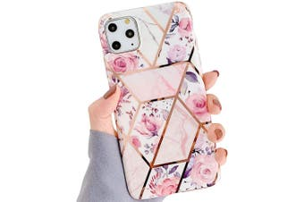 Marble Pattern Soft TPU Case Elegant Stylish ShockProof Silicone Cover for iPhone 7/8 Plus-PinkFlower