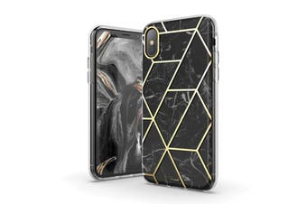 TITSHARK Marble Pattern ShockProof Tough High-quality stylish Case Cover For iPhone X/XS-Black