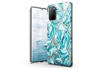 Galaxy S20 Plus Case TITSHARK Clear Marble Shockproof Cover-Blue