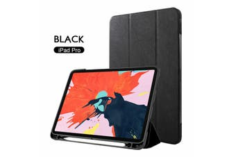 Leather Smart Case Cove Pencil charging for iPad 11 inch 2018-Black