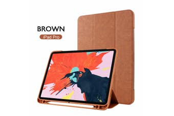Leather Smart Case Cove Pencil charging for iPad 11 inch 2018-Brown