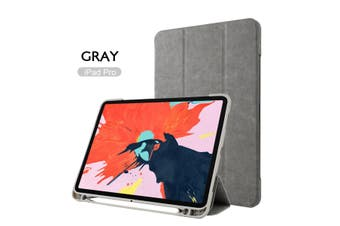Leather Smart Case Cove Pencil charging for iPad 11 inch 2018-Gray