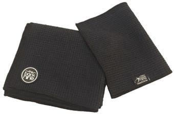 Aqua Pro Waffle Weave Golf Towel - Twin Pack - Black