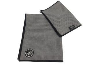 Aqua Pro Waffle Weave Golf Towel - Twin Pack - Charcoal