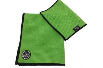 Aqua Pro Waffle Weave Golf Towel Twin Pack - Lime