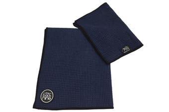 Aqua Pro Waffle Weave Golf Towel - Twin Pack - Navy