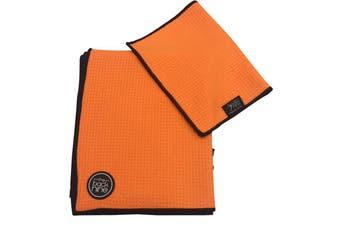 Aqua Pro Waffle Weave Golf Towel - Twin Pack - Orange