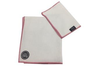 Aqua Pro Waffle Weave Golf Towel - Twin Pack - White/Pink