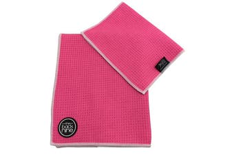 Aqua Pro Waffle Weave Golf Towel - Twin Pack - Pink