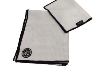 Aqua Pro Waffle Weave Golf Towel - Twin Pack - White/Black