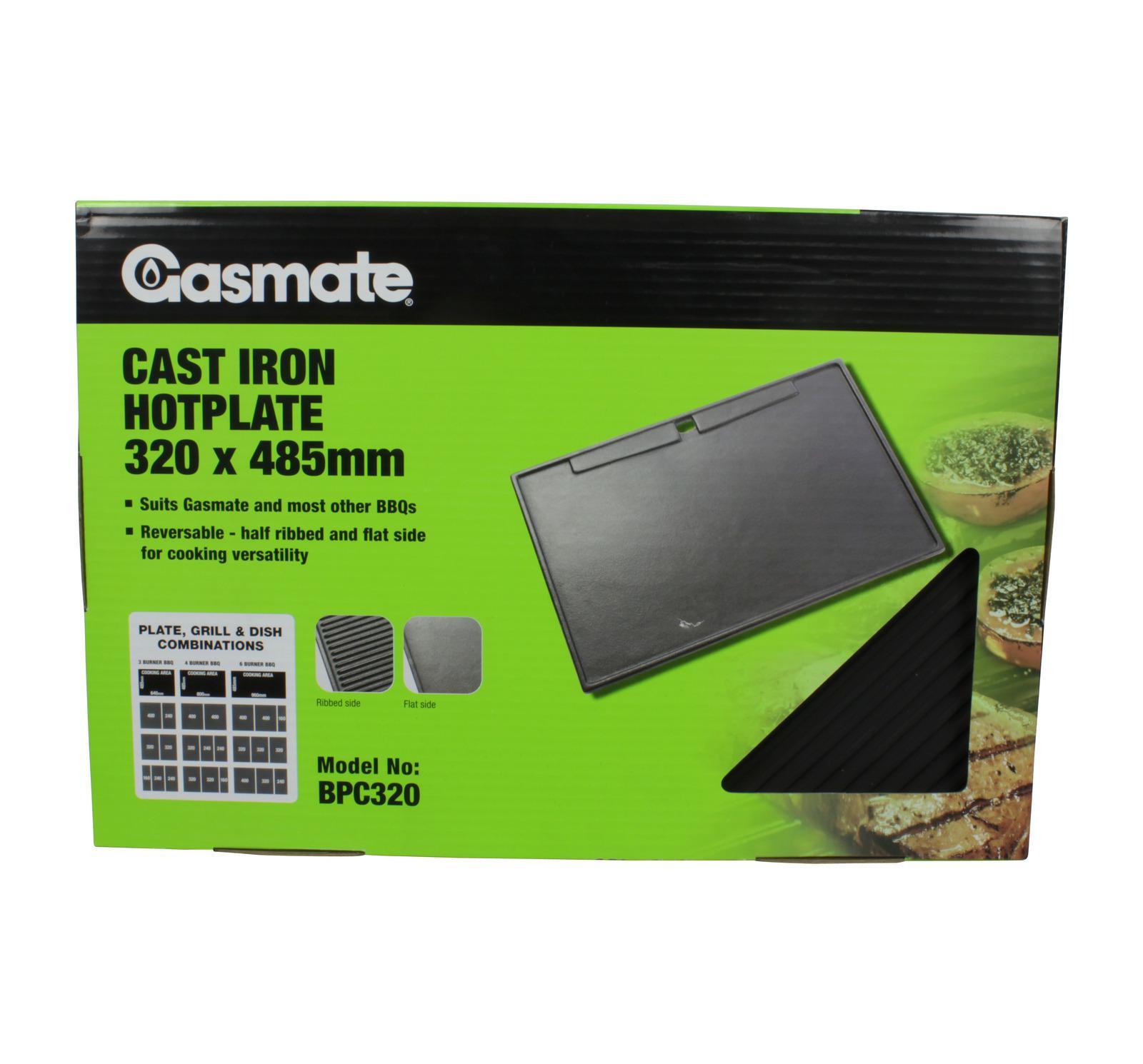 Gasmate BBQ Cast Iron Hot Plate 320 x 480mm Black