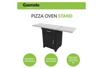 Gasmate Pizza Oven Stand Deluxe Stainless Steel Top with Foldable Side Shelves - PS110