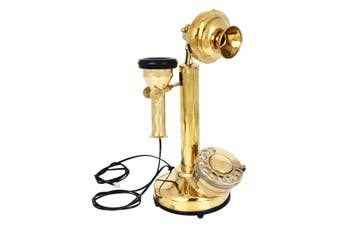 Vintage Style Brass Candle Stick Telephone