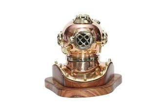 Small Copper Deep Sea Diver Helmet on Wooden Base