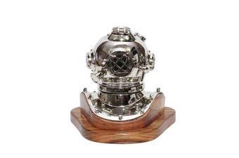 Small Chrome Deep Sea Diver Helmet on Wooden Base
